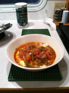 Hungarian Beef Goulash served over mashed potatoes/cauliflowe